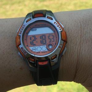 Armitron sports watch orange gray WR 165 ft